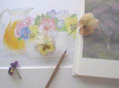 drawings by Mari Mochizuki, April 2014 /スタジオから:季節の便り 2014年4月 絵本「ママがおこるとかなしいの」挿絵 素描(部分)と、料理家・辰巳芳子「暮しの向付」で担当した桜の素描を用いた構成 #望月麻里 mochizukimari.com
