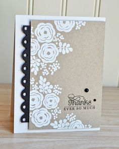 I love the bold stamps embossed in white!mama elephant stamps water blooms