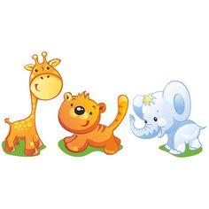Vinilos Infantiles: Jirafa, León y Elefante 1