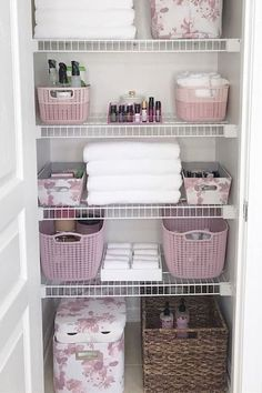 Home Interior Living Room How cute is this pink floral themed linen closet? I love that toilet paper storage bin!Home Interior Living Room How cute is this pink floral themed linen closet? I love that toilet paper storage bin! Linen Closet Organization, Bathroom Organisation, Storage Closets, Organize Bathroom Closet, Bathroom Linen Closet, Cleaning Closet, Storage Hacks, Storage Bin Organization, Diy Storage
