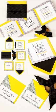 Geometric Wedding Stationery. Using bright colours, embossed detailing and simple fonts. This is perfect for any modern wedding. Part of the 'GO GEO' collection by Paper Date.