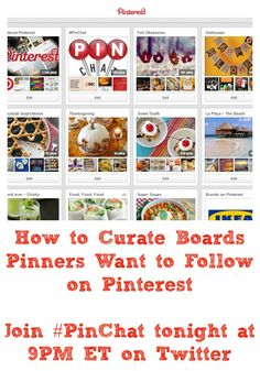 Join #PinChat tonight (October 23rd) at 9PM ET on Twitter to explore: How to Curate Boards Pinners Want to Follow