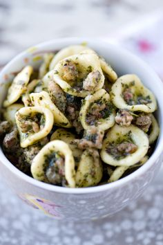 Orecchiette with Tuscan Kale Pesto and Sausage