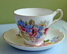 Porcelain Teacup Saucer Set.  Hand Painted by AnythingDiscovered, $32.00