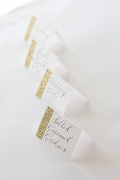 Glitter Dessert Cards with Custom Calligraphy for Wedding Event Party or Shower