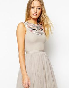 Needle & Thread | Needle & Thread Embellished Folk Prom Midi Dress at ASOS