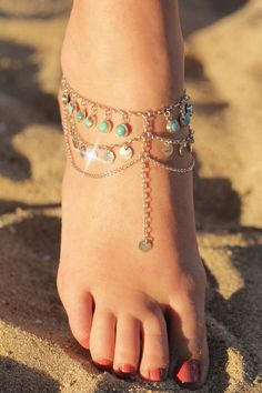Created for a wedding this foot chain is comfortable enough to be worn daily, at the beach, with sandals or for a dressy occasion. Each natural Turquoise has been carefully encased in sterling silver
