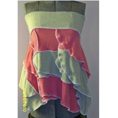 Upcycled Sweater Skirt Halter Top Ruffled Asymetrical Pixie Eco Green | DiscordThreads - Clothing on ArtFire