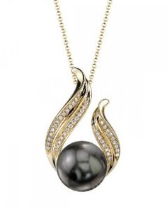 14K Gold Tahitian South Sea Pearl & Diamond Tiara Pendant.