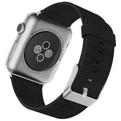 cool Apple Watch Band, JETech® 42mm Leather Strap Wrist Band Replacement w/ Metal Clasp for Apple Watch All Models 42mm - Black