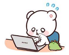 สติ๊กเกอร์ไลน์ Milk & Mocha: Custom Stickers - line2me.in.th Cute Bear Drawings, Cute Cartoon Images, Cute Love Gif, Bunny And Bear, Kawaii Cat, Cute Memes, Love Bear, Kawaii Wallpaper, Mocca