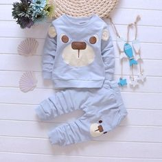 New Cute Toddler Baby Boys Kids Shirt Tops Long Pants Clothes 2pcs Outfits
