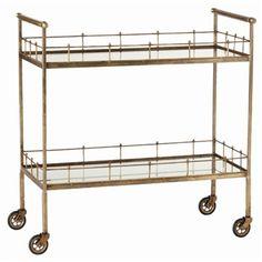 Arteriors, Lisbon Vintage Brass & Glass Bar Cart  $1,080.  Free Shipping.