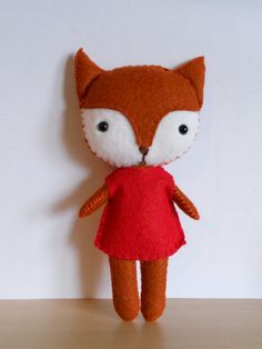 Plush Fox - stuffed felt animal doll - pocket pets. £12.00, via Etsy.
