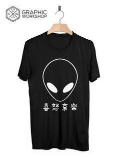 Japanese Alien T-Shirt // Tumblr Tee Trippy Chill Vaporwave Grunge Goth Yin Yang Drippy LSD 90s Clothing Graphic UFO Area 51 Ayy LMAO on Storenvy