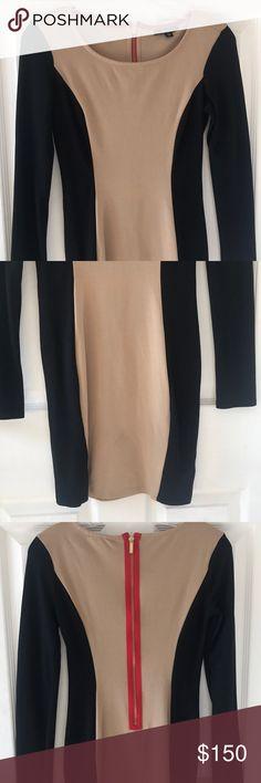 Ella Moss Long Sleeve Dress-X-Small-$150-Brand New Ella Moss Long Sleeve Dress-X-Small-$150-Brand New- Black & Beige w/ Red Zipper Ella Moss Dresses Long Sleeve
