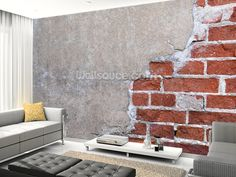Brick and Render wall mural living room preview