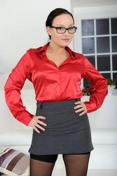 Work Fashion, Fashion Outfits, Satin Underwear, College Uniform, Carla Brown, Satin Blouses, Satin Dresses, Silk Satin, Dress Skirt