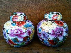 Gorgeous!  EnglishShop item.  http://www.etsy.com/listing/122620154/vintage-chinese-flower-ginger-jars-set  Vintage Chinese Flower Ginger Jars, Set of 2. $129.00, via Etsy.