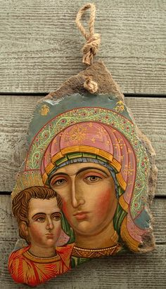 Hand-painted Virgin Mary and Child egg tempera Icon on the stone gilding Religious Icons, Religious Art, Famous Freemasons, Painted Rocks, Hand Painted, Paint Icon, Byzantine Icons, Art Thou, Italian Art