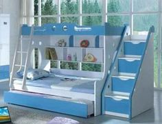 Bunk beds, book shelf & stairs to top bunk. Kids bedroom furniture ideas…