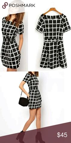 """Black and white mini dress New in package. Made with chiffon. Zipper in back. Bust 41"""", waist 31.5"""" and length is 32.25"""". Size says XXL, but measurements fit more like a L.  No trades. To save, bundle with my 20% discount or make me an offer! Dresses Mini"""