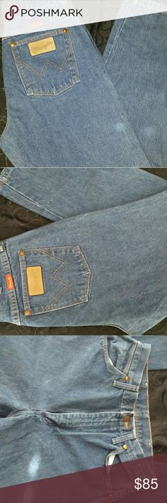Vintage Wrangler Jeans Size 9×32. Super gorgeous, high waisted and appear unused. Color shown best in last pics. Real denim Wrangler Jeans