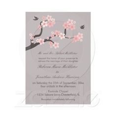 """Cherry Blossoms Pink/Grey Wedding Invitation    """"Cherry blossoms on a branch with doves.. Suitable for a Bridal shower invitation or Engagement invitation."""""""