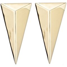 Alexis Bittar Gold Pyramid Post Earring ($95) ❤ liked on Polyvore featuring jewelry, earrings, accessories, gold, bijoux, pyramid stud earrings, yellow gold jewelry, gold tone earrings, stud earrings and pyramid jewelry
