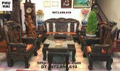 bộ bàn ghế đẹp gỗ mun kiểu phượng công