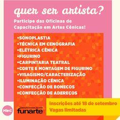 Abertas as inscrições para oficinas de capacitação em artes cênicas - FUNARTE