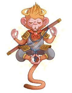 Monkey king by Fufunha.deviantart.com on @DeviantArt King Tattoos, God Tattoos, Body Art Tattoos, Tattoos For Guys, Monkey Mind, Monkey Art, King Drawing, Chinese Cartoon, Monkey Illustration