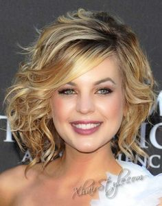 style it curly. Love her hair and make up color combo! Might just be my fall look this year!
