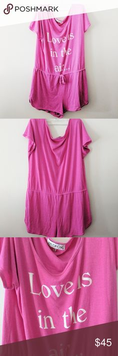 Gone 6/22 Wildfox Love is in the air pink romper Excellent condition, drawstring waist, no piling Wildfox Tops
