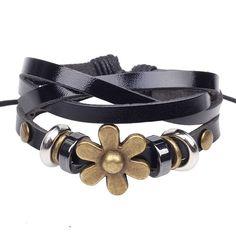 Hemp and Leather Flower Bracelet