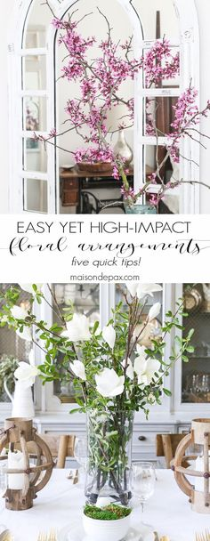 5 Suggestions for Quick, Easy High-Impact Floral Arrangements: Real or faux flowering tree branches create a dramatic yet understated visual. Click to see the other incredibly helpful tips!