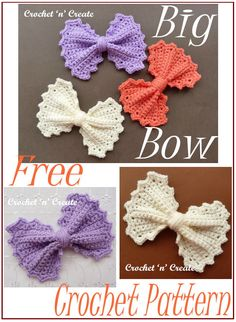 Free Big Bow Crochet Pattern - - Big Bow Crochet Pattern - A cute and fun large bow, the perfect accessory that can be used on bags, hats blankets and many other items. The free crochet pattern is below, scroll down to get it in UK and USA format. Crochet Bows Free Pattern, Crochet Bow Ties, Crochet Hair Bows, Beau Crochet, Crochet Hair Accessories, Crochet Motifs, Crochet Hair Styles, Easy Crochet Patterns, Crochet Designs