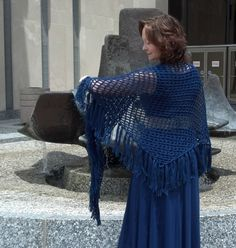 Handmade Long Blue Crochet Shawl Light and by Tennesseeyarnworks,