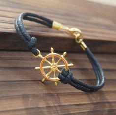 Gold Rudder Bracelet Single Bracelet in Gold Color-Black Leather Bracelet-Men Women Gift-Best Friendship Jewelry Gift