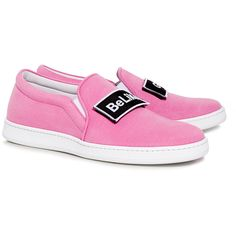 Joshua Sanders - \'Be Like Gigi\' Applique Slip On Sneakers ($218) ❤ liked on Polyvore featuring shoes, sneakers, slip on trainers, slip-on sneakers, joshua's shoes, bright colored shoes and bright colored sneakers