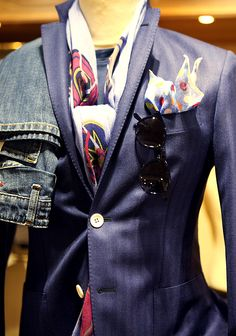 Lovely blue jacket with nice accessories.
