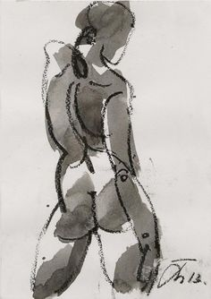 """Serhiy Hai -- Female Figure in Motion; 2013; Ink and oil pastel on paper; 8.5"""" x 11.5"""", 24"""" x 21"""" framed [SY 55]"""