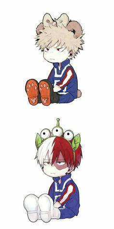 Boku no hero academia todoroki shouto, katsuki bakugou, Boku No Hero Academia, My Hero Academia Memes, Hero Academia Characters, Anime Characters, Deku Anime, Fanart, Anime Crossover, Cute Chibi, Cute Pokemon