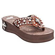 Justin Marley Ladies Brown Croc Print with Leather Cross Jeweled Flip-Flop by M&F...