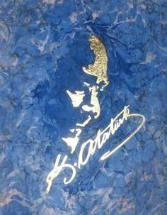 Atatürk..85x75 cm. marbering on satin fabric