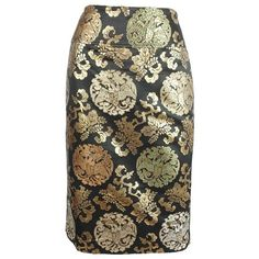 Preowned Ralph Lauren Black And Gold Asian Inspired Skirt - 10 (14.640 RUB) ❤ liked on Polyvore featuring skirts, black, slit skirt, straight skirt, ralph lauren skirts, print skirt and gold skirt