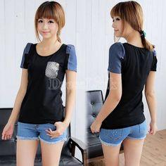 Korean Stylish Women's Girl Casual Jean Splicing Short Sleeve T-Shirt Tops