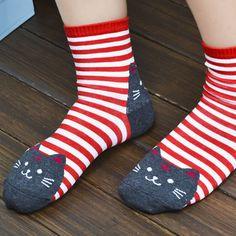 Cartoon Cat Face Striped Socks