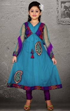 Picture of Chic Teal Blue Color Kids Net Anarkali Suit