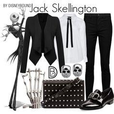 Jack Skellington by leslieakay on Polyvore featuring Zizzi, WithChic, J Brand, Prada, Alexander Wang, disney, disneybound and disneycharacter